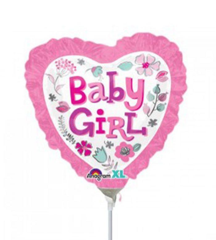 בלון על מקל - לב baby girl